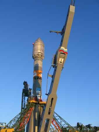 Radarsat-2-Trägerrakete (Sojus) am Launchpad; Credit: Roskosmos