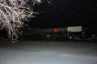 Sojus-U-Rollout zur Rampe; Credit: Energia