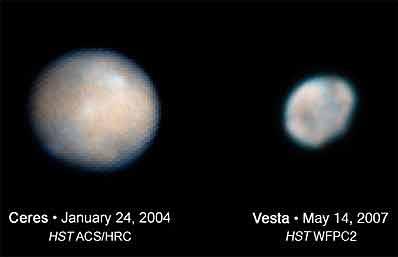 Ceres und Vesta; Credit: STScI / Hubble Space Telescope, NASA, ESA